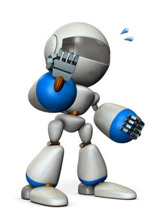 Energetic robots is posing. 3D illustration