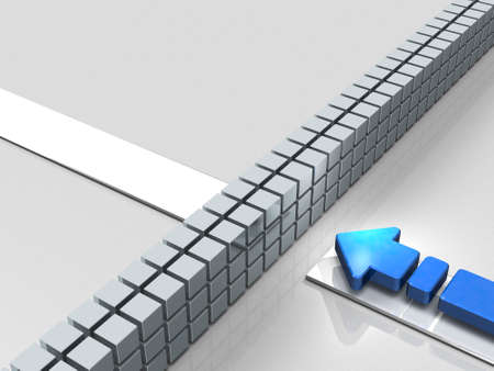 Obstacles to the course. An Arrow represent stagnation. 3D illustration Stock Photo