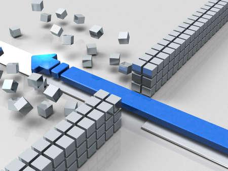 障害突破の矢印は、成功を示します。3 D イラストレーション 写真素材