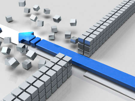 An arrow breaking through an obstacle indicates success. 3D illustration Stok Fotoğraf