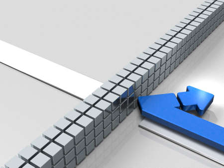 Obstacles to the course. The arrow turns back. It represents abandonment. 3D illustration Reklamní fotografie - 91449733