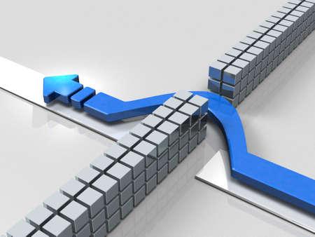 파란색 화살표는 장애물을 피하기 위해 진행됩니다. 3D 일러스트 레이션 스톡 콘텐츠