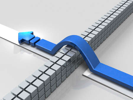 overcoming adversity: An arrow overcoming obstacles indicate success. 3D illustration