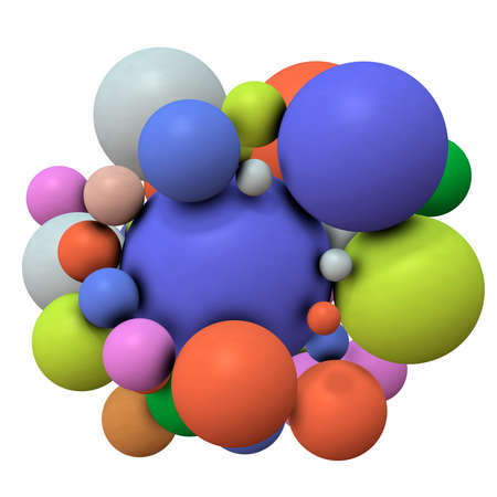 Multiple spheres clustered in the center. 3D illustration
