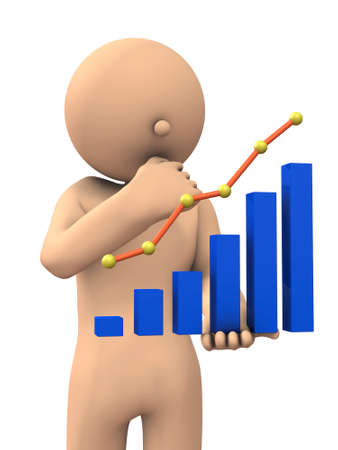 Character to analyze while watching the graph. 3D illustration Stock Photo