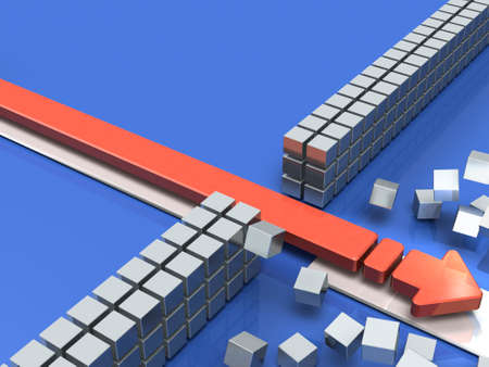 An arrow breaking through an obstacle indicates success. 3D illustration Stock fotó