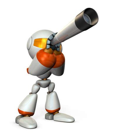 望遠鏡にかわいいロボット。それは、未来を予見します。3 D イラスト。 写真素材