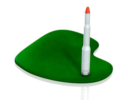 A rocket ready for launch. The green island represents the territory. 3D illustration