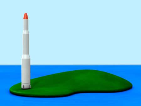 打ち上げ準備ができているロケット。緑の島は領土を表します。3Dイラストレーション