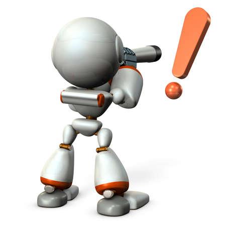 Un robot mignon regardant dans le télescope. Il prévoit l'avenir. Illustration 3D Banque d'images - 91184522