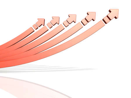 5 rising arrows. It shows cooperation and growing together. 3D illustration
