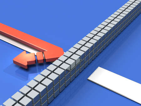 Obstacles to the course. The arrow turns back. It represents abandonment. 3D illustration