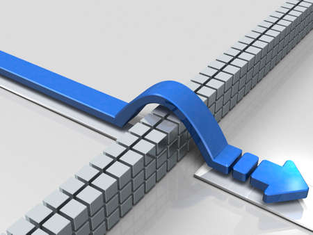 An arrow overcoming obstacles indicate success. 3D illustration