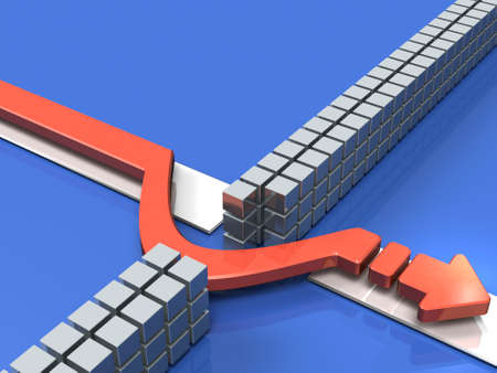 Arrow that avoids obstacles on course. 3D illustration