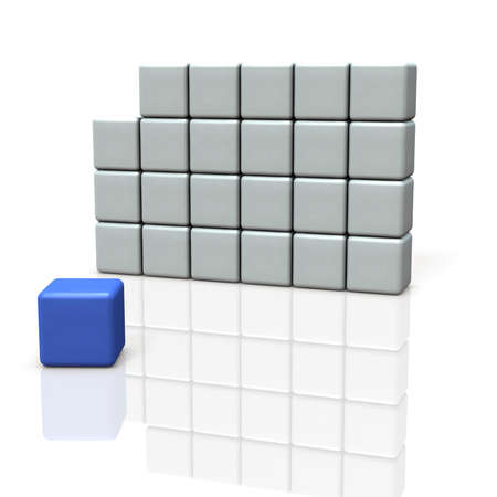 A single box out of the group. It represents independence. 3D illustration