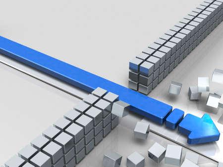 障害物を突き破る矢印は成功を示します。3Dイラストレーション