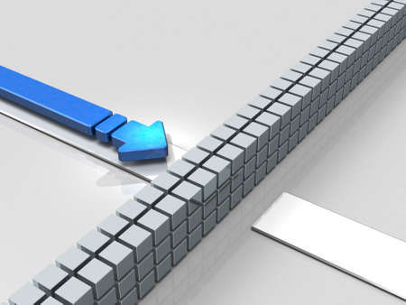 Obstacles to the course. An Arrow represent stagnation. 3D illustration Imagens