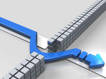 コース上の障害物を回避する矢印。3Dイラストレーション