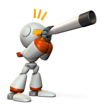 望遠鏡を見ているかわいいロボット。それは未来を予見する。3Dイラスト。 写真素材