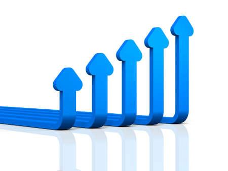 Abstract 3DCG illustration showing upward trend. 3D illustration Reklamní fotografie