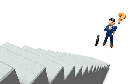 The businessman is standing in front of a big staircase. He has great hope. 3D illustration