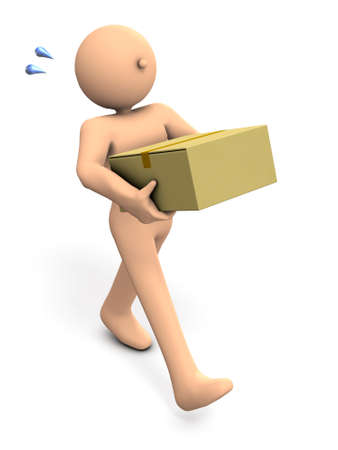 A person carrying a large cardboard box. He did a good shopping. 3D illustration