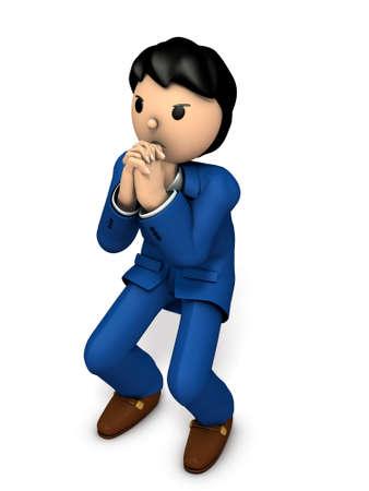 The businessman desperately begs. 3D illustration Banco de Imagens