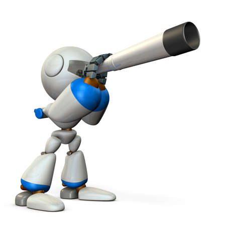 A cute robot looking into the telescope. It foresees the future. 3D illustration. Banque d'images - 97290071