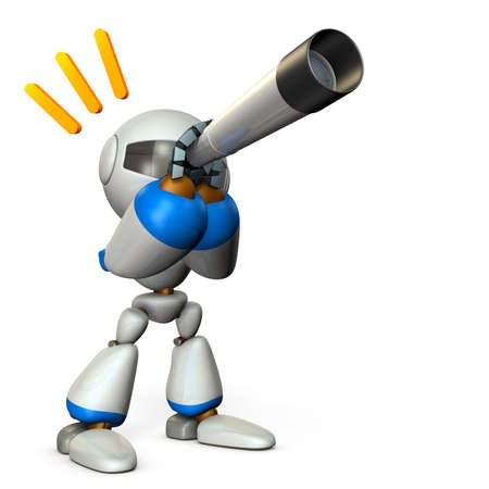 A cute robot looking into the telescope. It foresees the future. 3D illustration.