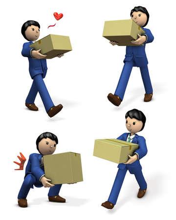 A businessman carrying a cardboard box. A set of 4 illustrations.  3D illustration Stock Illustration - 97832025