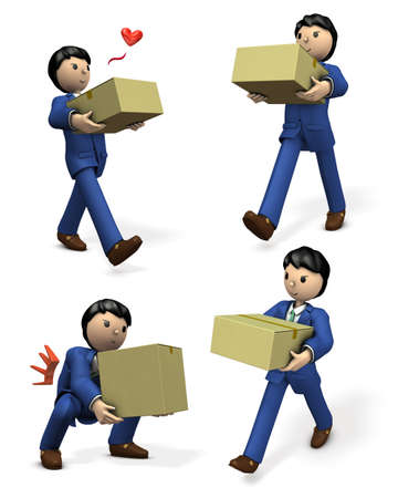 A businessman carrying a cardboard box. A set of 4 illustrations.  3D illustration