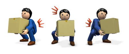 A businessman holding a cardboard box. He became a strained back. 3D illustration.  multiple illustration set.