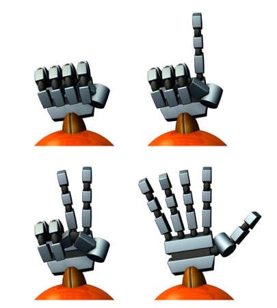 ロボットの右手。じゃんけん。3D イラストレーション