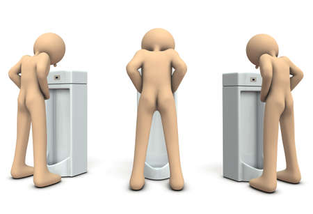 A male character who is urinating. 3D illustration