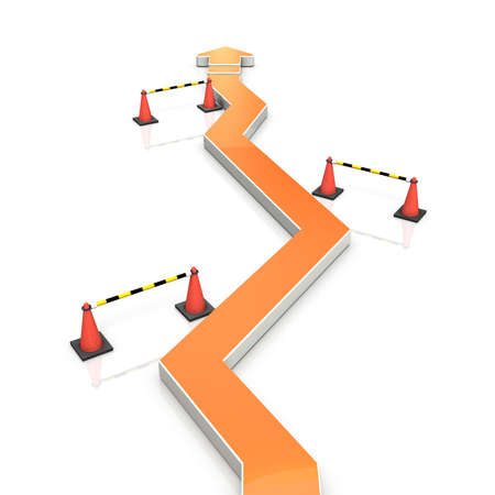 An arrow that changes course repeatedly. This is an abstract showing twists and turns. 3D illustration Stock Photo