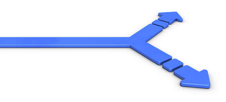 A branch point divided into two. That arrow is an abstract represents choices. 3D illustration, Banque d'images