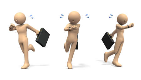 Character running while care about watch. 3D illustration Stock Photo