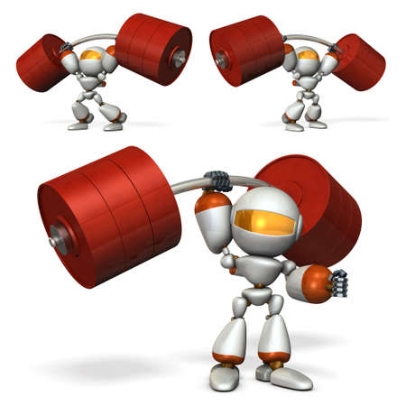 A robot with great power. He is weight lifting. 3D illustration