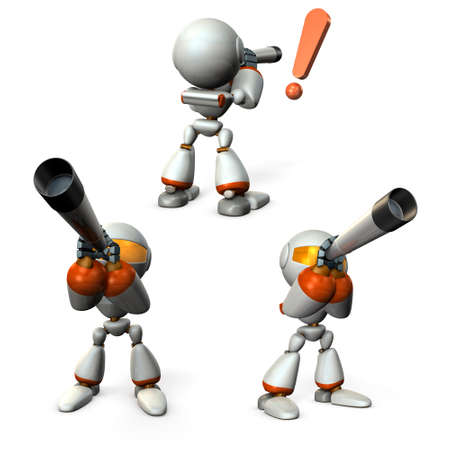 A robot that predicts the future using a telescope. 3D illustration Banque d'images - 100456249