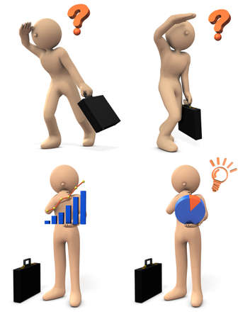 Vision to see the future. Business person who thinks strategy. 3D illustration