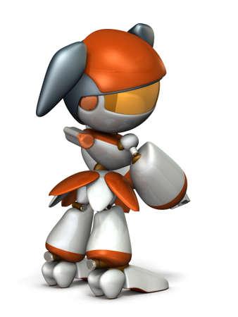 The female robot looks back. She is jealous. 3D illustration