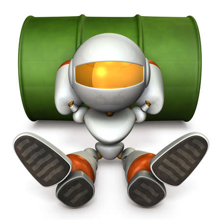 That robot is tired and skipping work. He has a delusion. 3D illustration