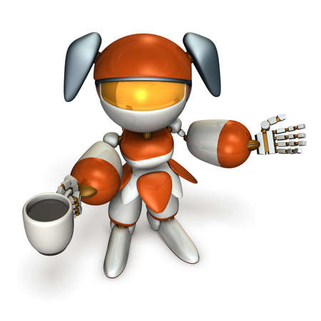 A cute robot that takes a coffee and introduces herself. 3D illustration