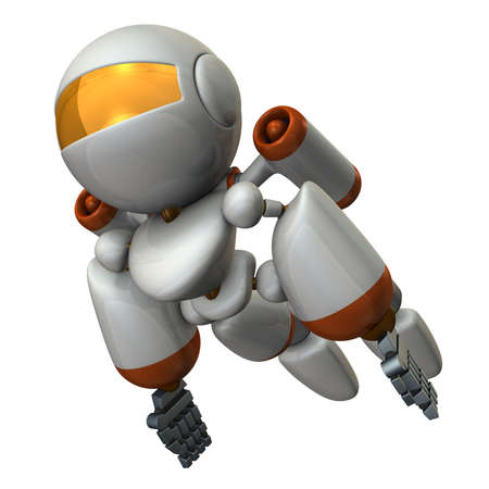 Cool robot flying in the sky. It is strongly brave.  3D illustration Stock Photo