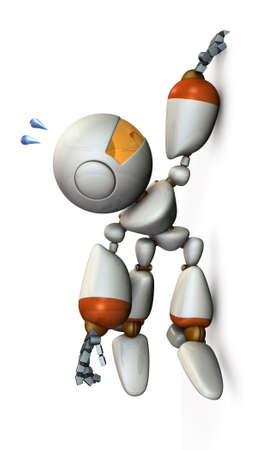 Robot is hanging with his fingers hanging on the wall. 3D illustration