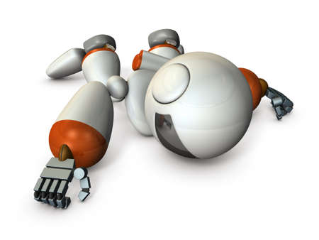 The dying robot is stumbled in a stance. It is a dangerous situation. 3D illustration