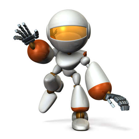 A cute robot that follows something. He is on the verge of falling. 3D illustration Stock Illustration - 104552057