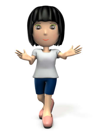 A cute woman who spread both arms. It expresses kindness. 3D illustration Stock Photo