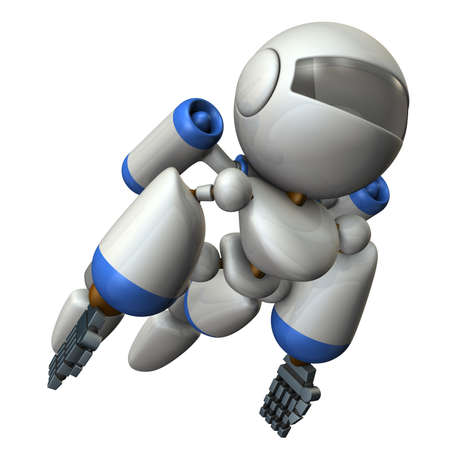Cool robot flying in the sky. It is strongly brave.  3D illustration Imagens
