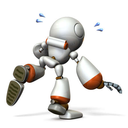 A cute robot that follows something. He is on the verge of falling. 3D illustration Stock Illustration - 104226238